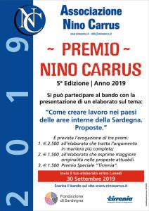 """Quinta Edizione del """"Premio Nino Carrus 2019"""